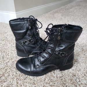 Guess Women  Round Toe Ankle Combat Boots 7.5